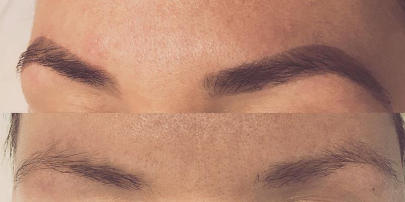 Фото до и после окрашивание бровей