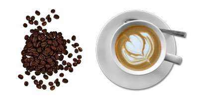 фото чашки кофе и зёрен