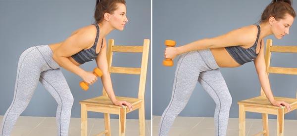 работа с гантелей в упоре на стуле