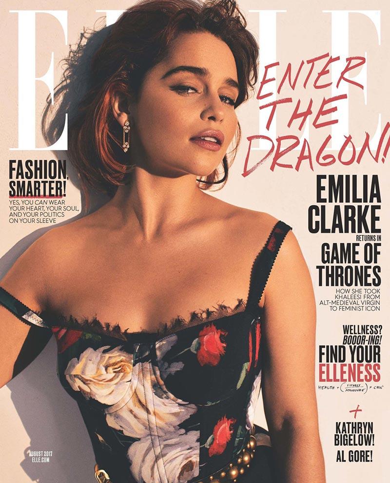 Эмилия Кларк на обложке августовского номера американского elle