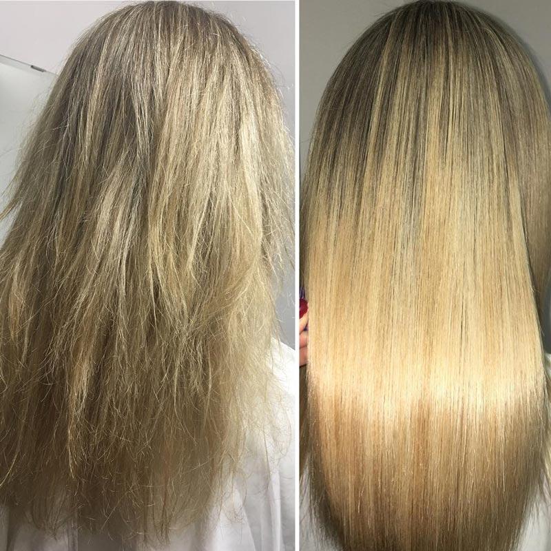 фото до и после Кератинового выпрямления волос
