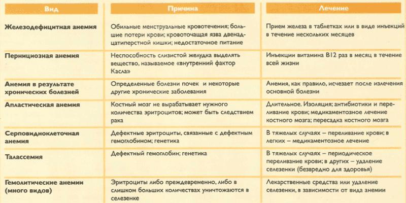 Виды анемии у взрослых