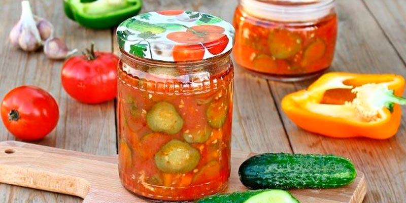 Рецепт лечо с огурцами, помидорами и перцем