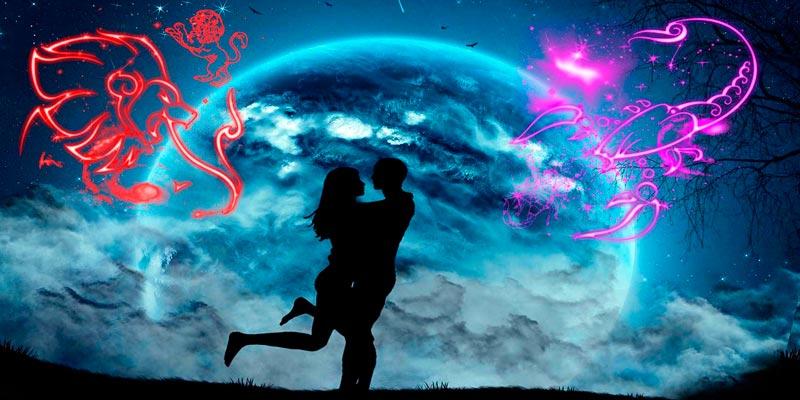 Женщина лев и мужчина скорпион: совместимость в любви