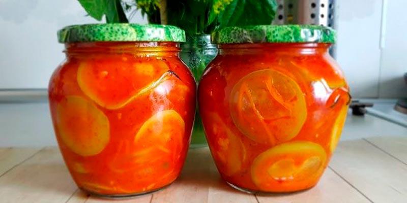 Рецепт кабачкового салата с добавлением моркови, томатной пасты и кетчупа на зиму