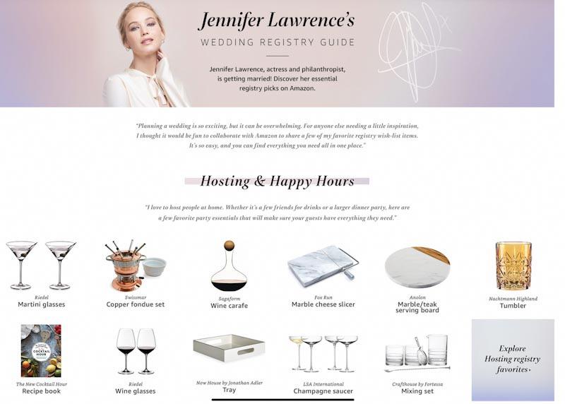 Наглость или практичность: Дженнифер Лоуренс заказала подарки на свадьбу