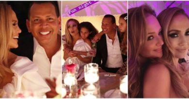 Джей Ло и Алекс Родригез с детьми на помолвке